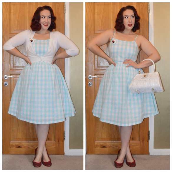 Gingham Marlene dressb Lindy Bop, white cropped cardigan by New Look, White Wicker bag by Pinup Girl Clothing, Cherry Cream brooch handmade by me, red bedazzled flats by me (tutorial here)