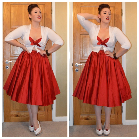 Red Renee dress by Pinup Girl Clothing, white cropped cardigan from New Look, Ice cream Sundae shoes by me (tutorial here) Assorted bangles eBay
