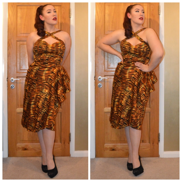 Tiger Print Voodoo Vixen Dress by Pinup Girl Clothing, Black heels from everything5pounds.com, fake ponytail from eBay