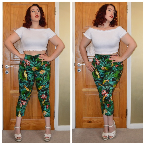 White crop top from Primark, discontinued High Waisted Trousers in Parrot Print from Pinup Girl Clothing, old New Look wedges