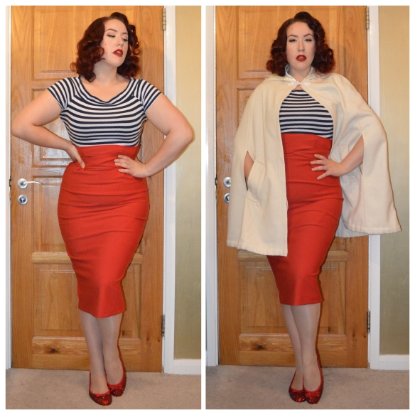 Striped bardot top from Primark, Red Vicki skirt by Tatyana, Cream Carolina Cape by Tara Starlet, red bedazzled flats by me (tutorial here)