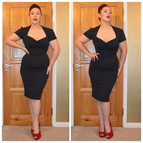 Navy Lauren dress by Goldie's Clothing, Red Velour Heels from Everything5pounds.com