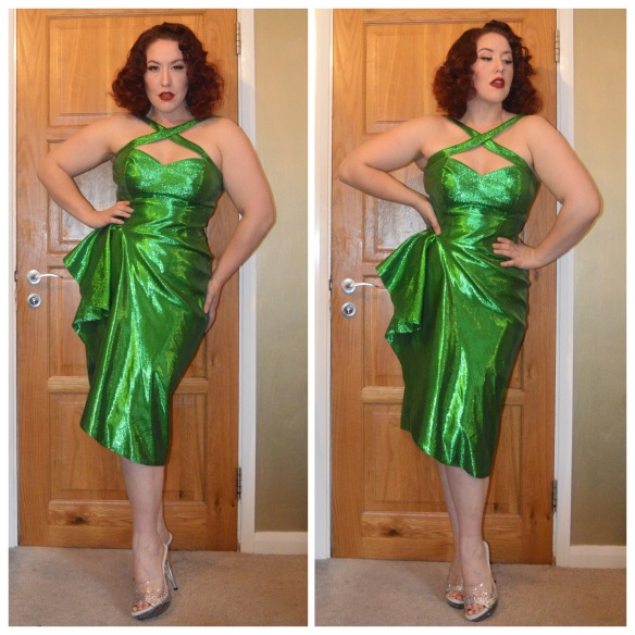 Green Lamé Voodoo Vixen dress by Pinup Girl Clothing, Pleaser heels bedazzled by me with tutorial here