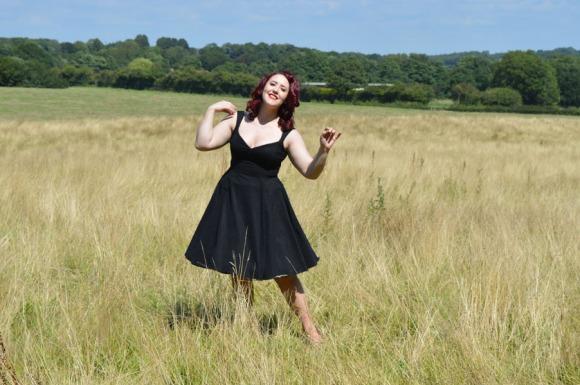 Goldie's Clothing Maria Flared Swing Dress Black Rice Dot Sheer Overlay
