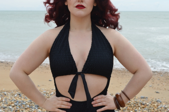Unique Vintage Brigitte Cut Out Swimsuit Body Positive