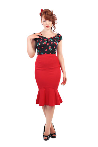 Red Winifred Fishtail skirt