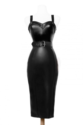 Deadly Dames Downtown Dame Dress in Faux Leather