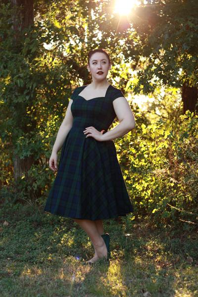 Hell Bunny 50s Style Aberdeen Light Blue Tartan Flared Dress