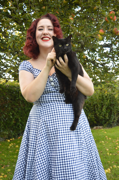 Collectif navy gingham Dolores dress and cat