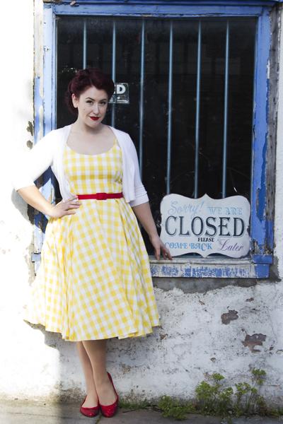 97c4163603fe The Pretty Dress Company Priscilla swing dress yellow Gingham ...