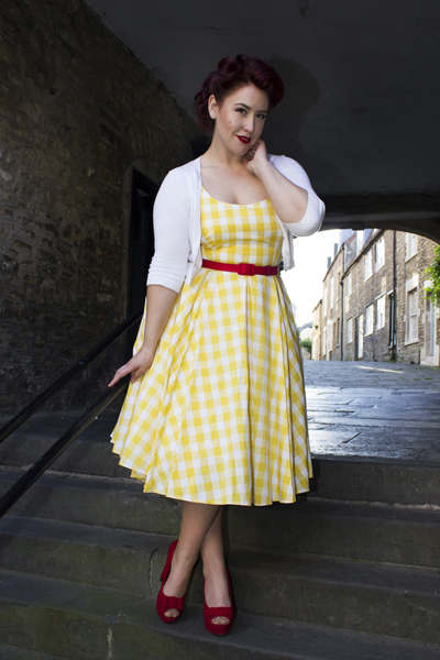 The Pretty Dress Company Priscilla swing dress yellow Gingham