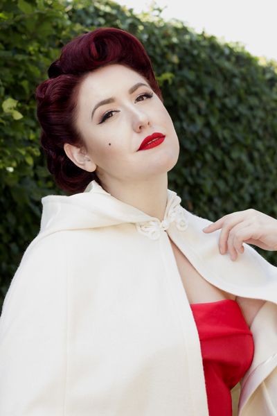 Style Icon's Closet Red Audrey Fifties Dress Caroline Tara Starlet Cape