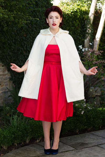 Style Icon's Closet Red Audrey Fifties Dress Tara Starlet Caroline Cape