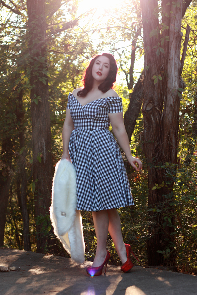 The Pretty Dress Company Black & White Femme Fatale Gingham Prom Swing Dress