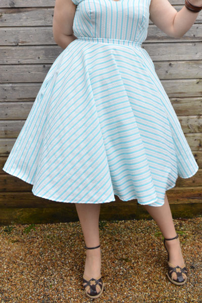 Lady K Loves Say Yeah top and Darling Skirt Seersucker White & Blue Stripes