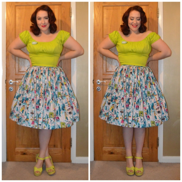 Lime PUG Peasant top, Erstwilder Hope's Love Letter Brooch, PUG Paris Jenny dress worn as a skirt, old season Primark wedges