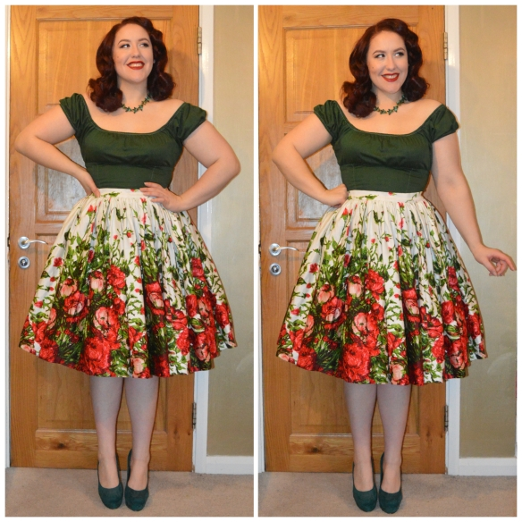 eBay necklace, PUG White Peasant top dyed Forest Green 80 Dylon, PUG Discontinued Red & Green Floral Jenny skirt, everything5pounds.com heels
