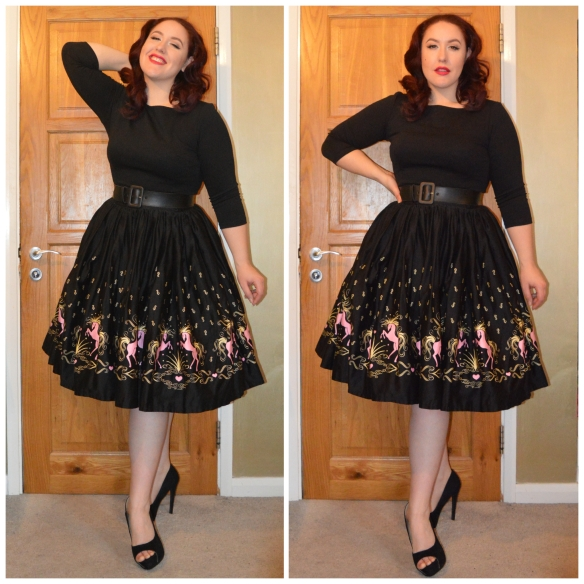 Black Sabrina top from Deadlyisthefemale.com, Black Faux Leather Belt, Dancing Horses Jenny Skirt all by PUG, everything5pounds.com heels