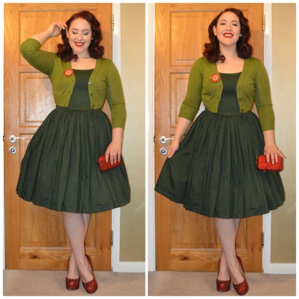 Olive Tootsie Cropped Cardigan from Doll Me Up, eBay Brooch, hand bedazzled clutch & heels (tutorial), Lavender Jenny dress dyed Forest Green Dylon