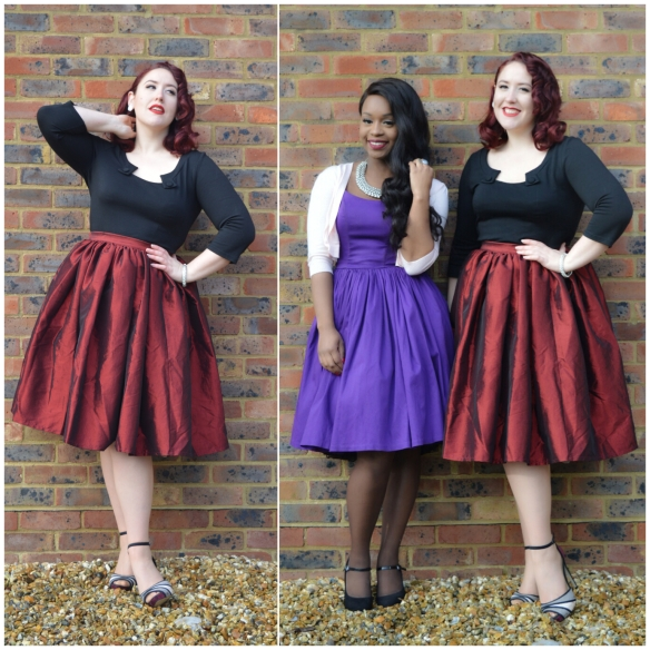 Me: Red Taffeta Jenny skirt, Sophie top by Voodoo Vixen, Peeptoe Heels from everything5pounds.com. Giselle: Purple Jenny Dress, Marks & Spencer heels
