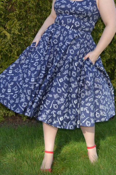 Hell Bunny Marin Dress Navy Nautical