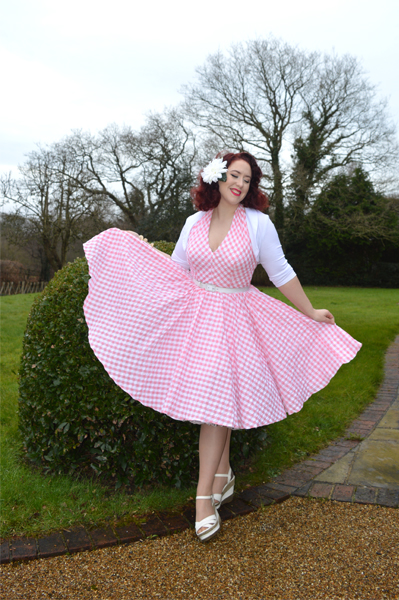 Unique Vintage San Vicente Pink Gingham Halter Dress