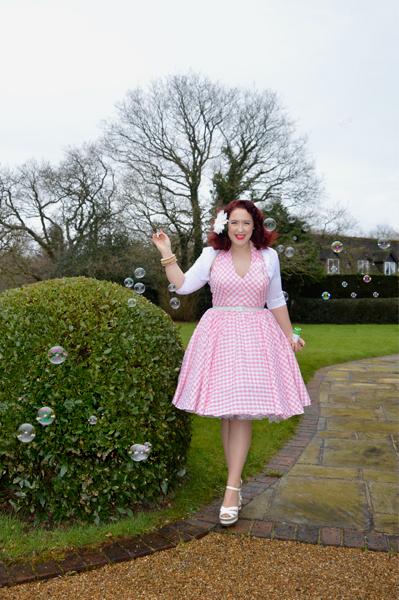Unique Vintage San Vicente Pink Gingham Halter Dress