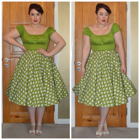Olive Green Peasant Top by Pinup Girl Clothing, Discontinued Olive & White Fleur De Lis Harley dress worn as a skirt by Pinup girl Clothing, old season Primark flats