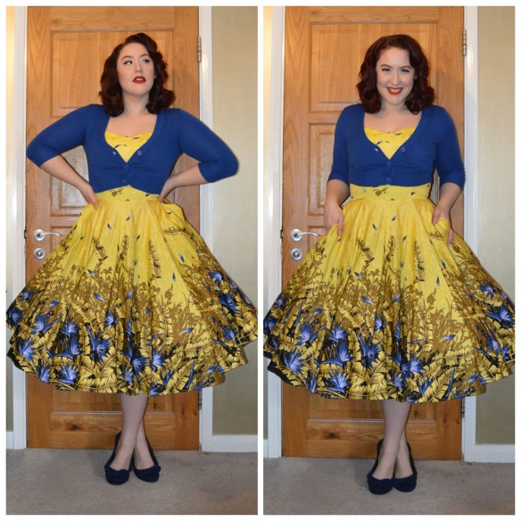 Discontinued Yellow & Blue Sea Siren dress by Pinup Girl Clothing, Royal Blue Cropped Cardigan from Pinup Girl Clothing, old season flats from Primark