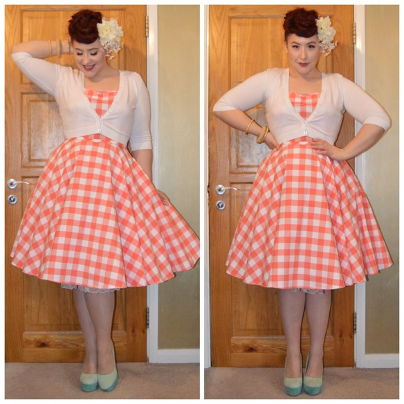 Coral gingham Sarah dress by Heart of Haute (restocking soon,) White Cropped Cardigan from New Look, Ivory Falls Blossom hair flowers by Alternate Normality, Natural Woven Bamboo Bangle by Splendette, Bamboo Bangles from Pinup Girl Clothing, old season Truffle heels
