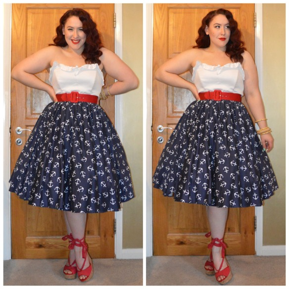 All from Pinup Girl Clothing: White Vintage Bustier top, Red Havana dress belt, Anchor Renee dress worn as a skirt, Wrap Me Up wedges, bamboo bangles. Woven Bamboo Bangle by Splendette