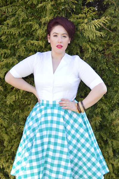 Heart of Haute Teal Green Picnic Gingham Circle Skirt Gretta Shirt