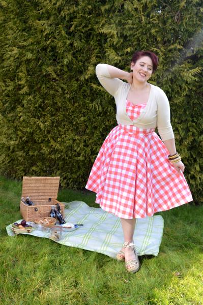 Heart of Haute Coral Sarah Gingham Dress
