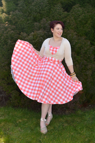 Heart of Haute Coral Sarah Gingham Dress
