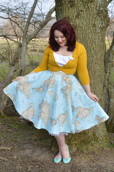 Oh My Honey Map Print Circle Skirt