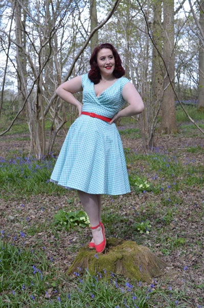 Collectif Pamela mint gingham doll dress