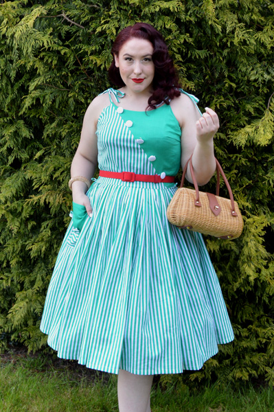 Unique Vintage Hamilton striped day dress