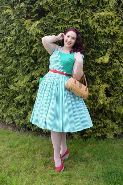 Unique Vintage Hamilton striped day dress