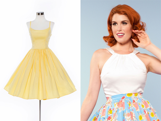 Pinup Girl Clothing Yellow Jenny Dress White Harley Top