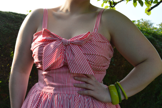 Unique Vintage Golightly Dress Pink Striped