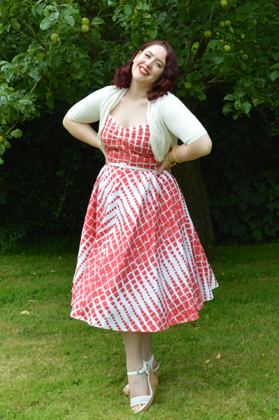 Unique Vintage Red and Cream Darcy dress