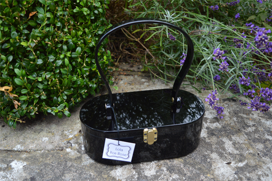 Lola Von Rose Black Acrylic Vintage Style Box Purse