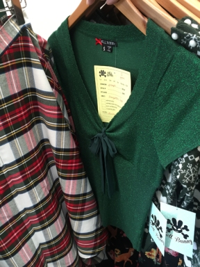 Tartan circle skirts & green lurex top