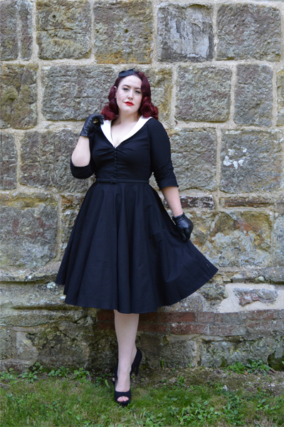 Unique Vintage Black and white Eva Marie Swing Dress