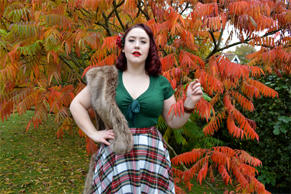 Hell Bunny Green Angette top Stewart Tartan Doralee Skirt