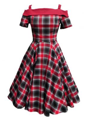 Carrie swing dress inRed/Grey Tartan