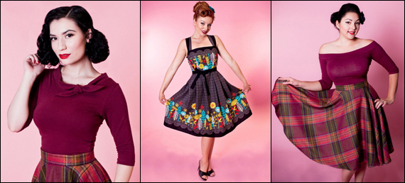 Heart of Haute Burgundy Lily top, Elizabeth Retro Garden Dress, Wine Country Plaid Circle Skirt