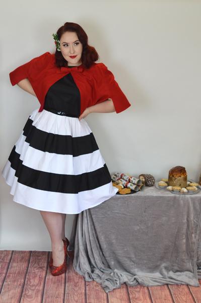 Dolly & dotty Black White Stripe Anna Dress Red Sabrina Cape