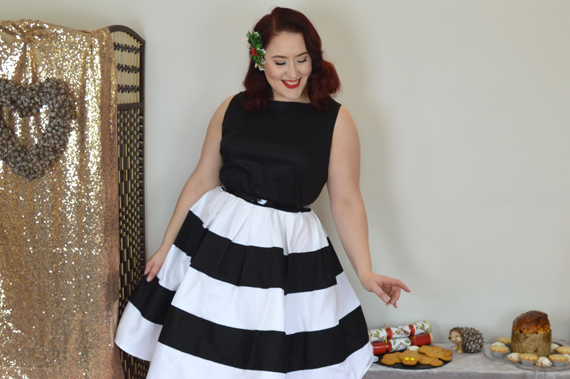 Dolly & dotty Black White Stripe Anna Dress