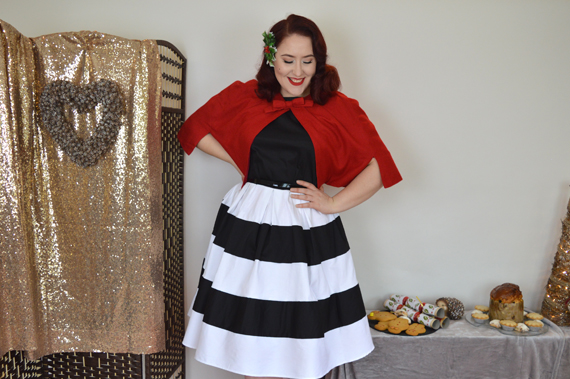 Dolly & dotty Black White Stripe Anna Dress Red Sabrina Cape